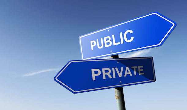 Public and Private directions.  Opposite traffic sign.