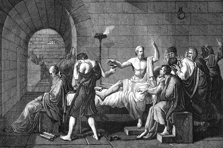 The Death of Socrates, 19th-century engraving. This engraving is a copy of 'The Death of Socrates' (1787) by the French artist Jacques-Louis David. This famous scene, described in the writings of Plato (at foot of bed), shows the Ancient Greek philosopher Socrates (c.470-399 BC, centre) still teaching his students in prison as he reaches for a cup of hemlock (a poison) with which to commit suicide. This scene followed his conviction for corrupting the youth of Athens with his teachings. His friend Crito is holding his leg. In the background, his wife is seen leaving the prison. This engraving dates from 1866.